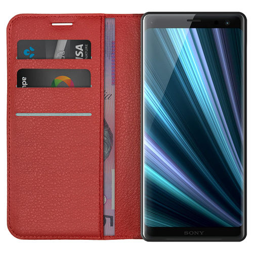 Leather Wallet Case & Card Holder Pouch for Sony Xperia XZ3 - Red